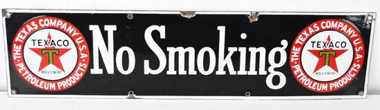 Texaco (Black-T) Black Background NO SMOKING Porcelain Sign