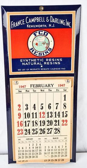 FCD Resins Celluloid over Metal 1947 Calendar NIB