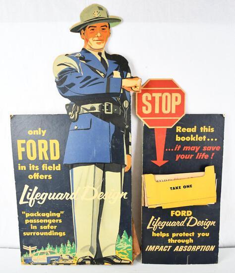 "1950's Ford ""Lifeguard Design"" Cardboard Easel Back Display"