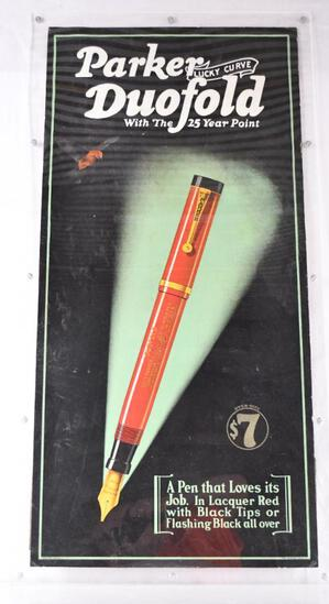 """Parker """"Lucky Curve"""" Duofold Fountain Pen Cardboard Easel-Back Sign"""