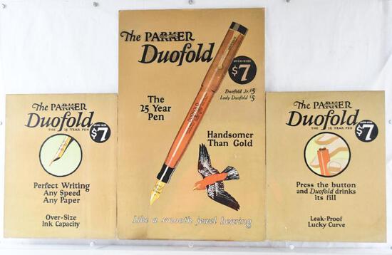 "Parker ""Lucky Curve"" Duofold Fountain Pen Cardboard Tri-Fold Sign"