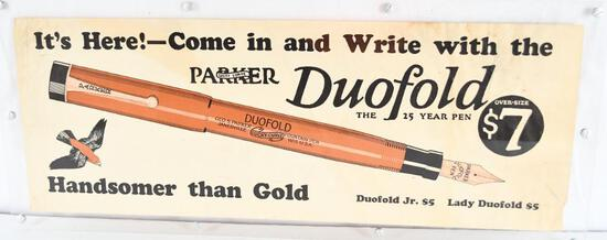"""Parker """"Lucky Curve"""" Duofold Fountain Pen Paper Sign"""