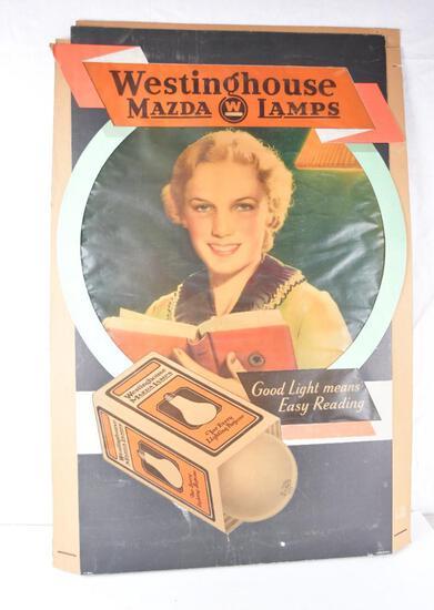 Westinghouse Mazda Lamps Cardboard Lighted Display Sign