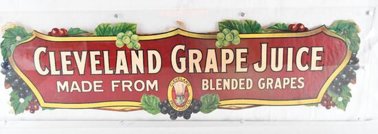 """Cleveland Grape Juice """"Made From Blended Grapes"""" Paper Festoon Sign"""