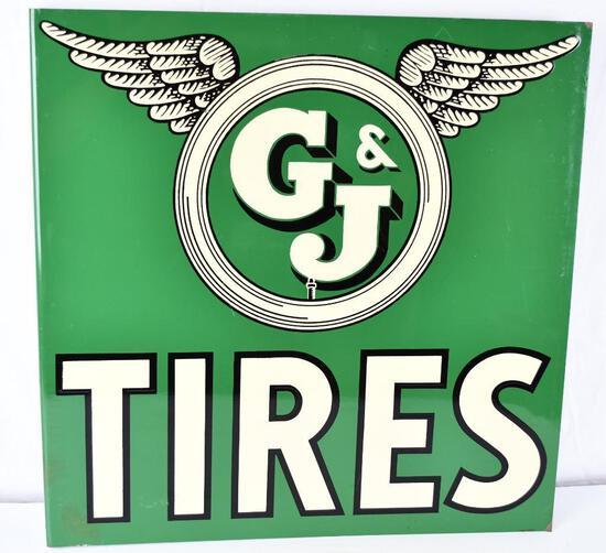 G & J Tires w/winged logo Metal Flange Sign (TAC)