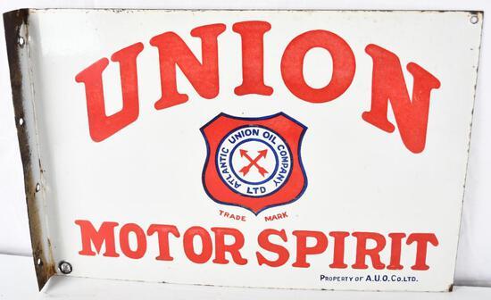 Union Motor Spirit w/logo Porcelain Flange Sign (TAC)