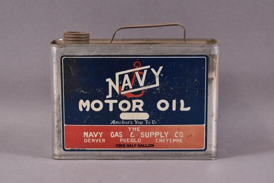 Navy Motor Oil Half-Gallon Can