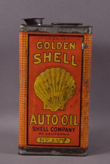 Golden Shell Auto Oil One Gallon Embossed Can