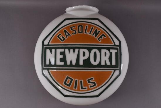 Newport Gasoline Oils OPE Milk Glass Canopy Globe