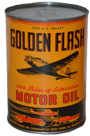 Golden Flash Motor Oil one quart round metal can, with great graphics, rated 9,