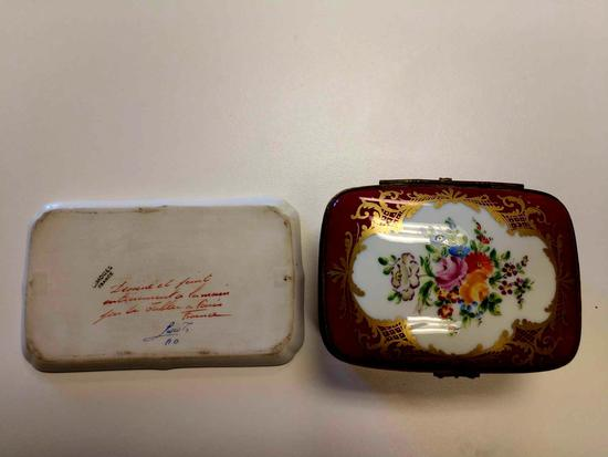 Limoges porcelain Hager trinket box and tray