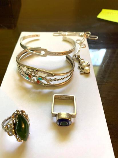 Sterling bracelets, rings