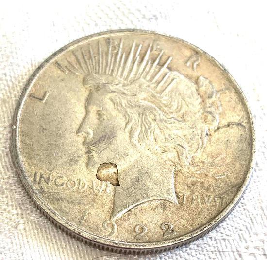 Peace silver dollar 1922