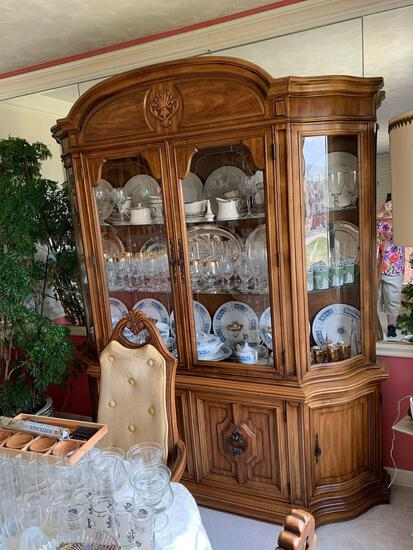 Dining room table , and China cabinet, five chairs