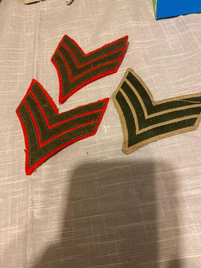 Three marine Arm patches stripes