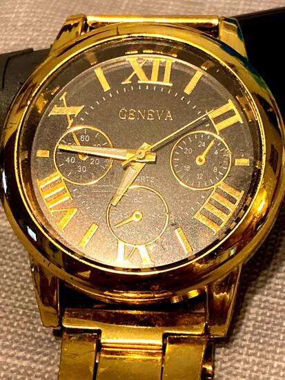Gold color three dial Geneva watch