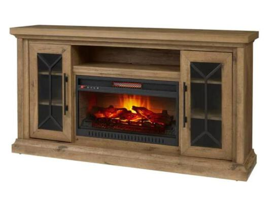 Home decorators Madison 68 inch media console infrared electric fireplace in dark chocolate finish
