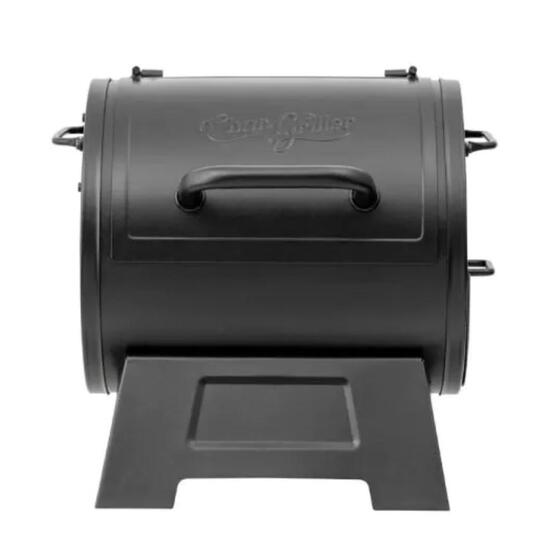 Char- grilled portable tabletop grill and side fire box