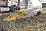 Yellow Triple Axle Dovetail Trailer, bumper pull