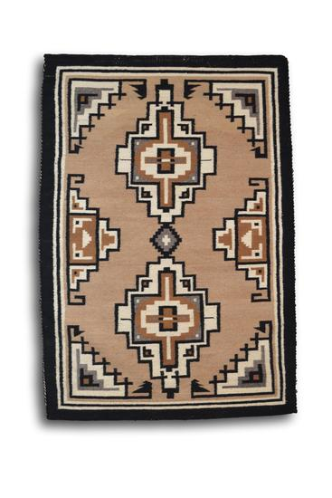 29 x 42.5 Two Grey Hills Navajo Rug