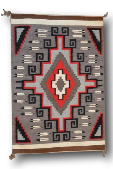 28.5 x 43 Ganado Navajo Rug by Nellie Joe Begay