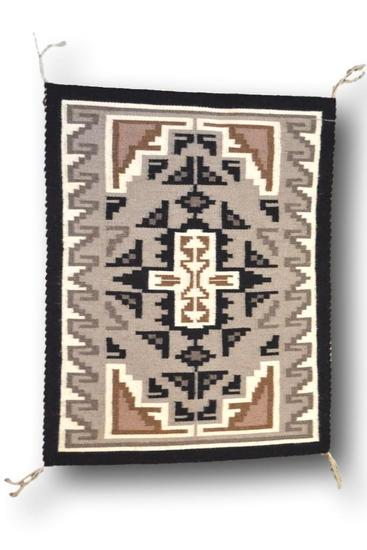 22.5 x 29 Two Grey Hill Navajo Rug by Irene Kirk