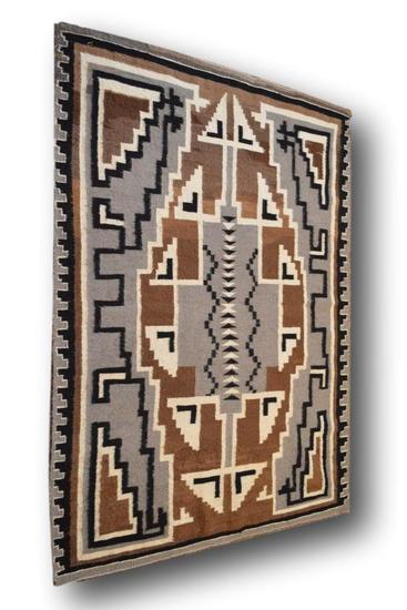 55.5 x 78 Two Grey Hills Navajo Rug