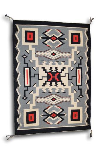 35 x 51 Storm Pattern Navajo Rug by Rebecca Yazzi