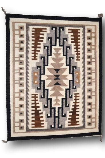 39.5 x 50 Two Grey Hills Navajo Rug by Mary C. Henderson
