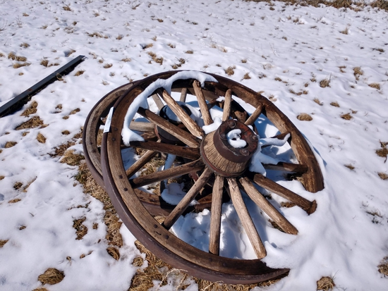2- Wooden Wagon Wheels with Metal Rims