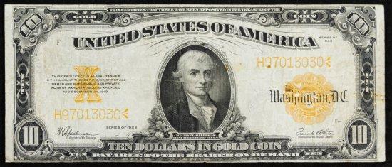 1922 $10 Gold Certificate F