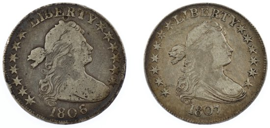 1806 and 1807 50c F Details / VF