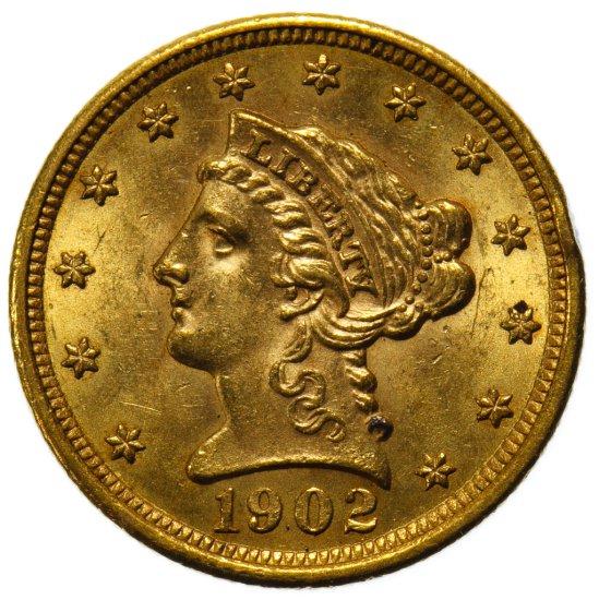 1902 $2 1/2 Gold Unc. Details