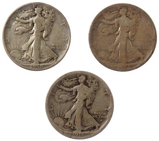 1916-S, 1921-D, 1938-D Walking Liberty 50c G