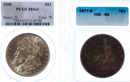 1877-S $1 G-6 ICG and 1900 $1 MS-63 PCGS
