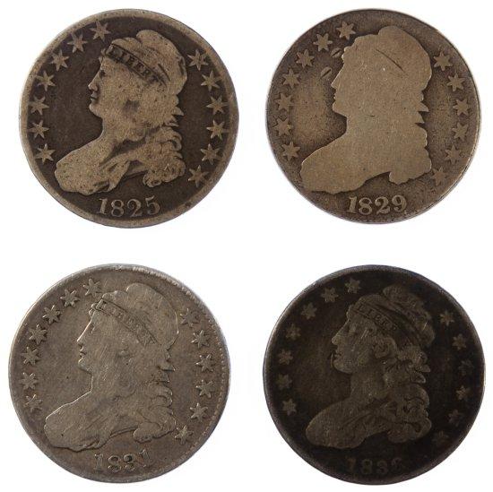 1825, 1829, 1831, 1836 50c G/VG