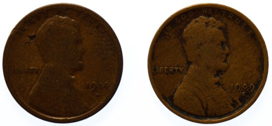 1909-S and 1914-D 1c VG/G Details
