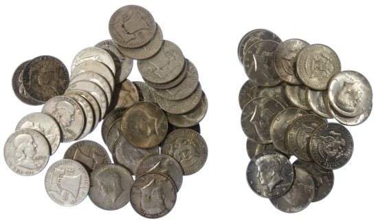 Walking Liberty, Franklin and Kennedy 50c Silver Assortment