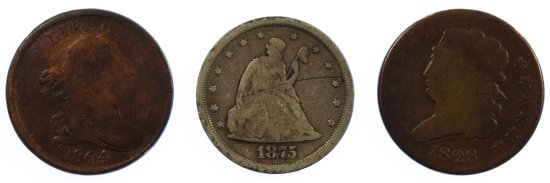 1804, 1828 1/2c and 1875 20c G/VG Details