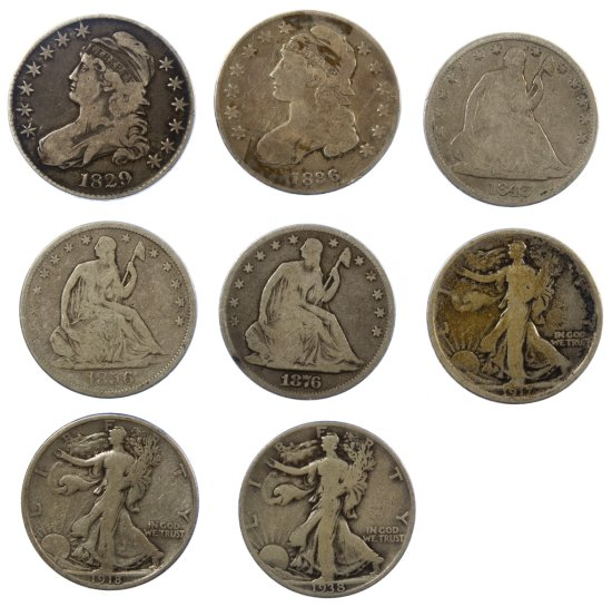 Bust, Seated Liberty and Standing Liberty 50c Assortment G-F