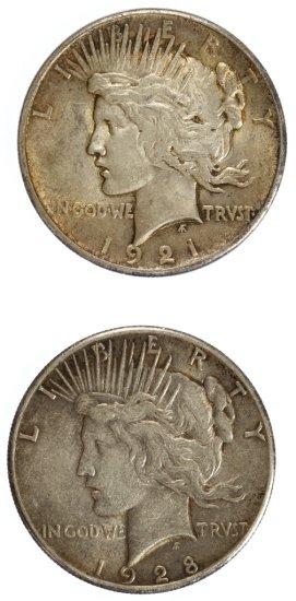 1921 Peace, 1928 $1 VF