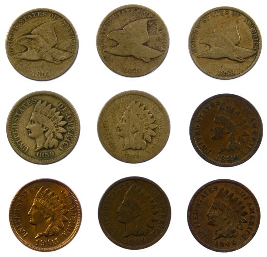 Flying Eagle and Indian Head 1c Assortment