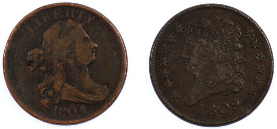 1804 and 1809 1/2c F / VF