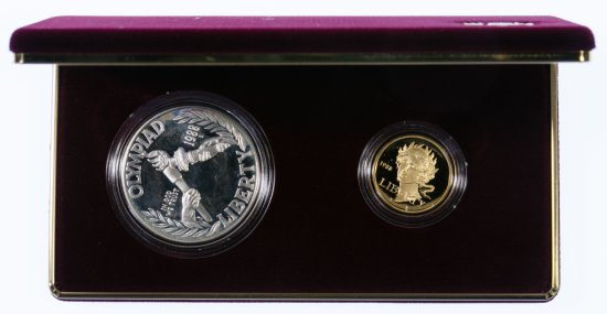 1988-S Olympic Proof Gold $5 and Silver $1 Set