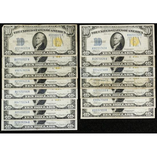 1934-A $10 'North African' Silver Certificate Assortment VG-VF