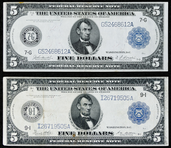 1914 $5 FRN Notes VF