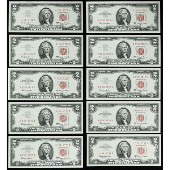 1963-A $2 Consecutive Note Assortment
