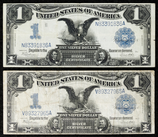 1899 $1 'Black Eagle' Silver Certificates VF/VF+