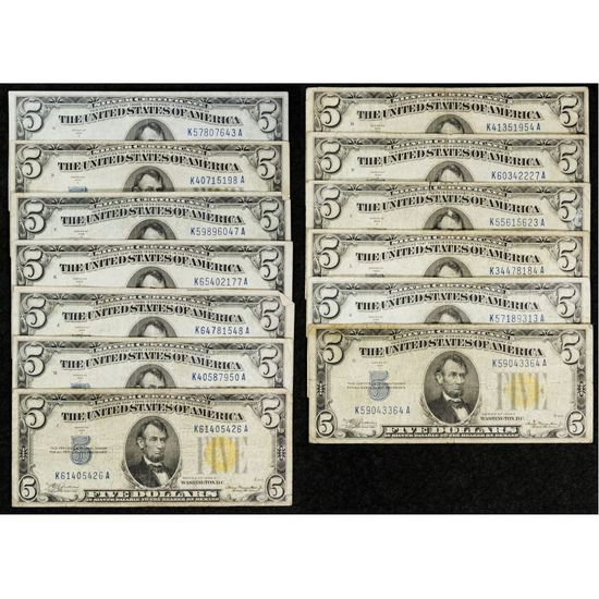 1934-A $5 'North African' Silver Certificate Assortment F-VF