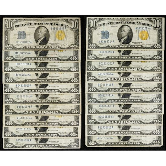 1934-A $10 'North African' Silver Certificate Assortment F-VF